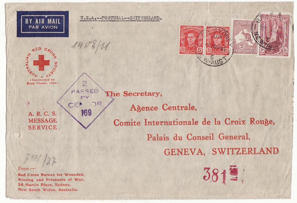 [20218] AUSTRALIA - SWITZERLAND…WW2 A.R.C.S. MESSAGE SERVICE to RED CROSS, GENEVA at 7/5d RATE.…  1944 (Mar 24)