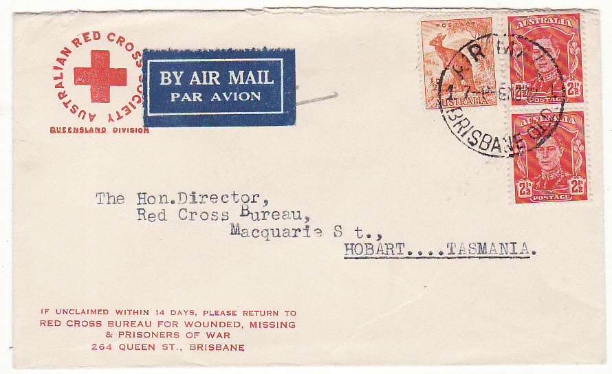 [20208]  AUSTRALIA…WW2 RED CROSS BRISBANE to RED CROSS HOBART…  1942 (Nov 8)