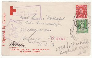 AUSTRALIA - USA…WW2 RED CROSS from HOSPITAL PATIENT DUEL MILITARY & CIVIL CENSORS.…