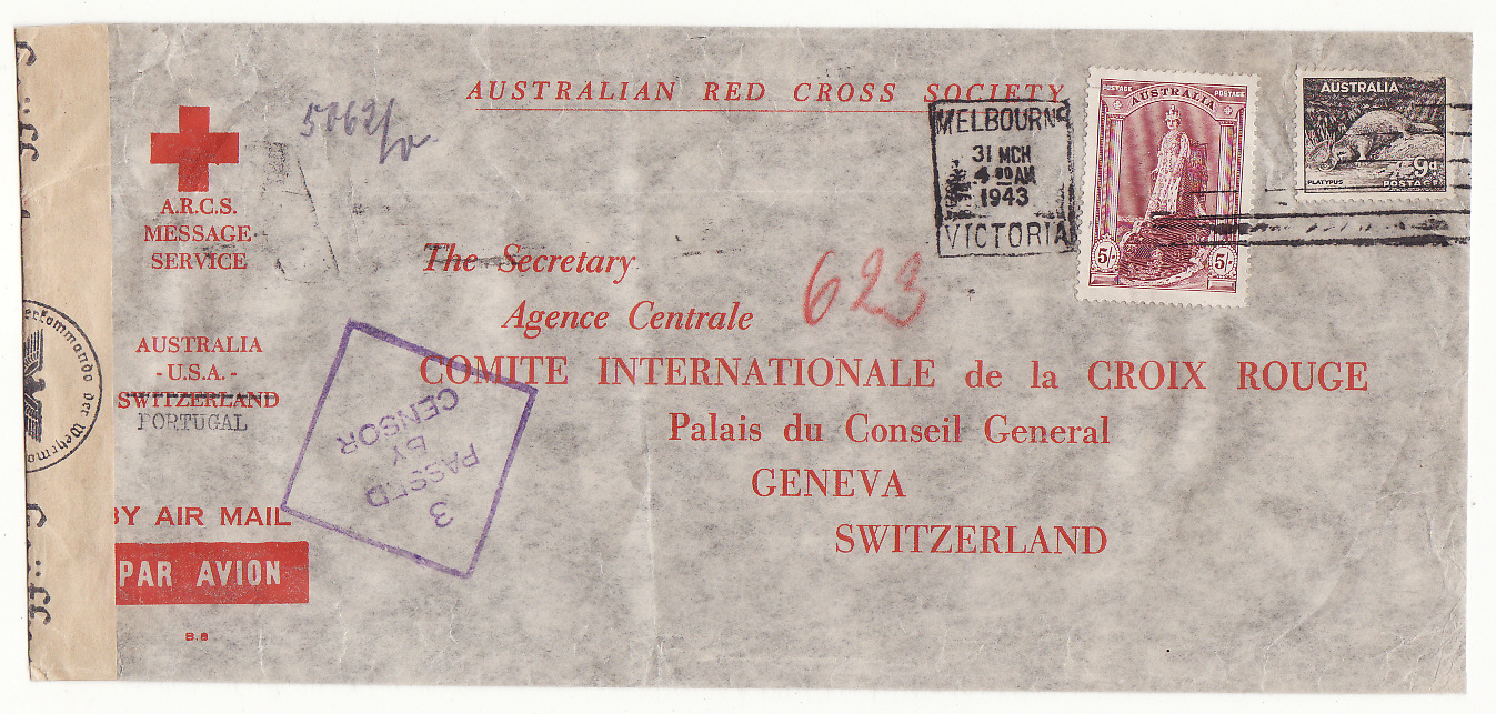 [20222]  AUSTRALIA - SWITZERLAND…WW2 A.R.C.S. MESSAGE SERVICE to RED CROSS, GENEVA at 5/9d RATE .…  1943 (Mar 31)