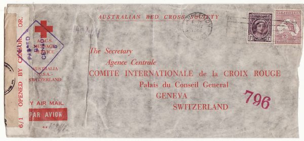 AUSTRALIA - SWITZERLAND…WW2 A.R.C.S. MESSAGE SERVICE to RED CROSS