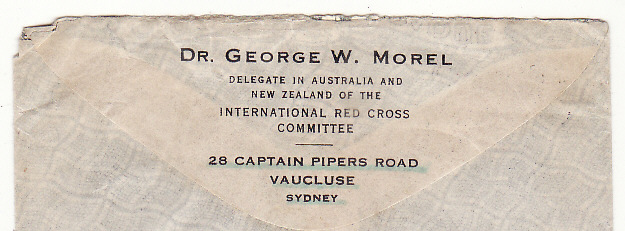 [20230]  AUSTRALIA - SWITZERLAND…WW2 DELEGATE in AUSTRALIA & N.Z. to the INTERNATIONAL RED CROSS COMMITEE .…  1943 (Mar)