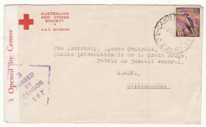 AUSTRALIA - SWITZERLAND…WW2 to RED CROSS
