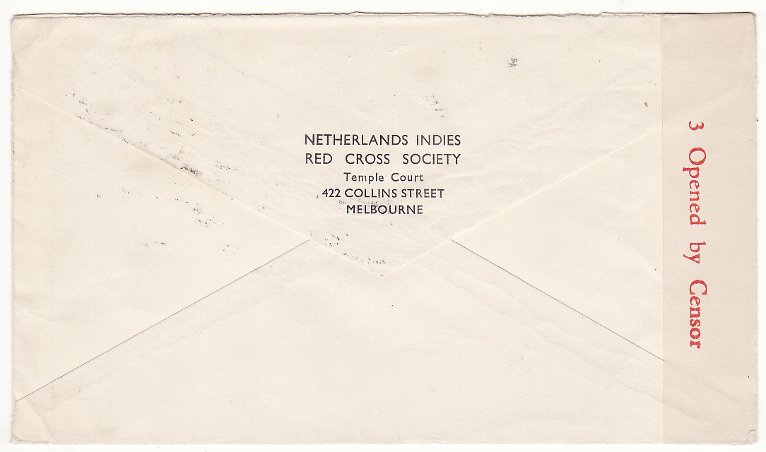 [20238]  AUSTRALIA - SWITZERLAND…WW2 NED. INDIES RED CROSS in MELBOURNE to RED CROSS, GENEVA .…  1944 (Oct 28)
