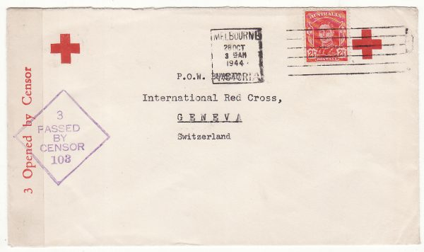 AUSTRALIA - SWITZERLAND…WW2 NED. INDIES RED CROSS in MELBOURNE to RED CROSS