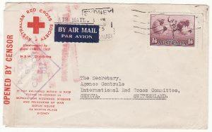 AUSTRALIA - SWITZERLAND…WW2 to RED CROSS