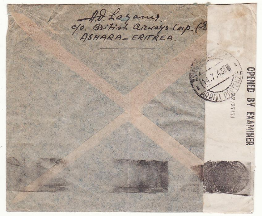 [20252]  B.O.F.I.C. ERITREA - PALESTINE….WW2 CENSORED AIRMAIL..  1943 (Jul 13)