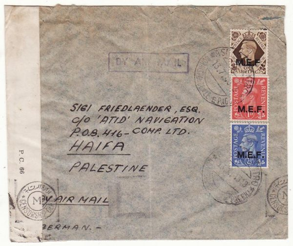 B.O.F.I.C. ERITREA - PALESTINE….WW2 CENSORED AIRMAIL..