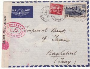 FRANCE - IRAQ……WW2 CENSORED AIRMAIL VIA LEBANON …