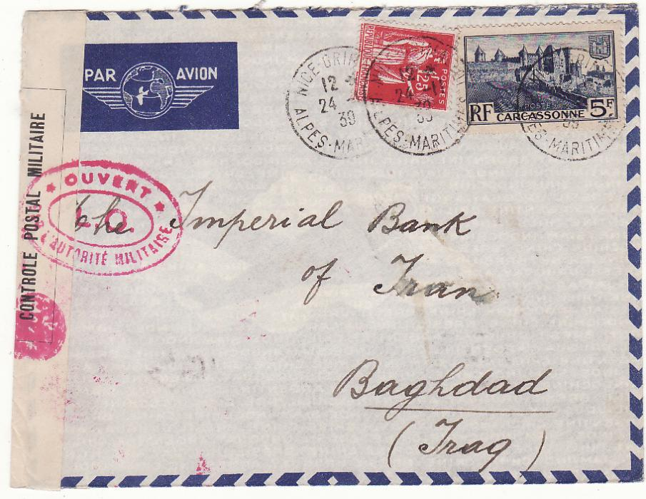 [20258]  FRANCE - IRAQ……WW2 CENSORED AIRMAIL VIA LEBANON …  1939 (Nov 24)