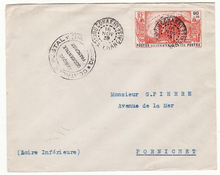 [20259]  FRENCH GUINEA - FRANCE……WW2 CENSORED …  1939 (Nov 16)