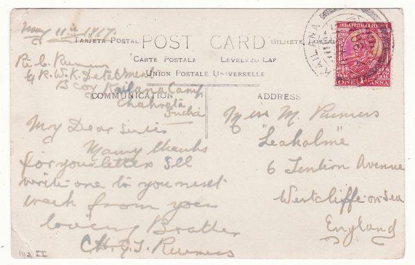 INDIA - GB……WW1 MILITARY MAIL from KAILANA CAMP