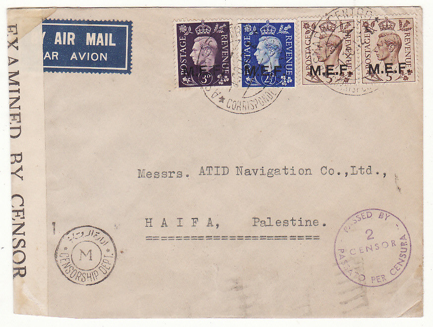 [20249]  B.O.F.I.C. ERITREA - PALESTINE….WW2 CENSORED AIRMAIL..  1942 (Oct 1)