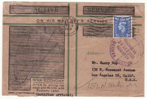 GB - USA …BRITISH FORCES in GERMANY WAR ECONOMY HONOUR ENVELOPE…