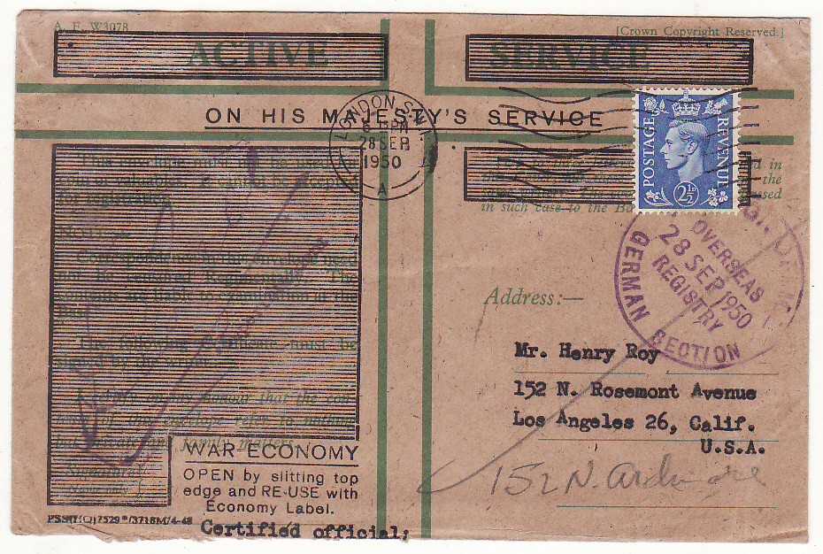 [20265]  GB - USA …BRITISH FORCES in GERMANY WAR ECONOMY HONOUR ENVELOPE…  1950 (Sep 28)