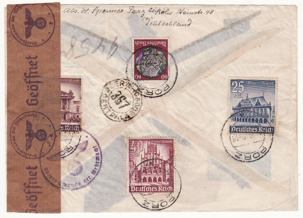 [20270].GERMANY - ARGENTINA…REGISTERED CENSORED AIRMAIL via LATI….............................