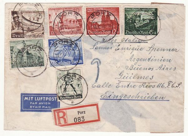 GERMANY - ARGENTINA…REGISTERED CENSORED AIRMAIL via LATI