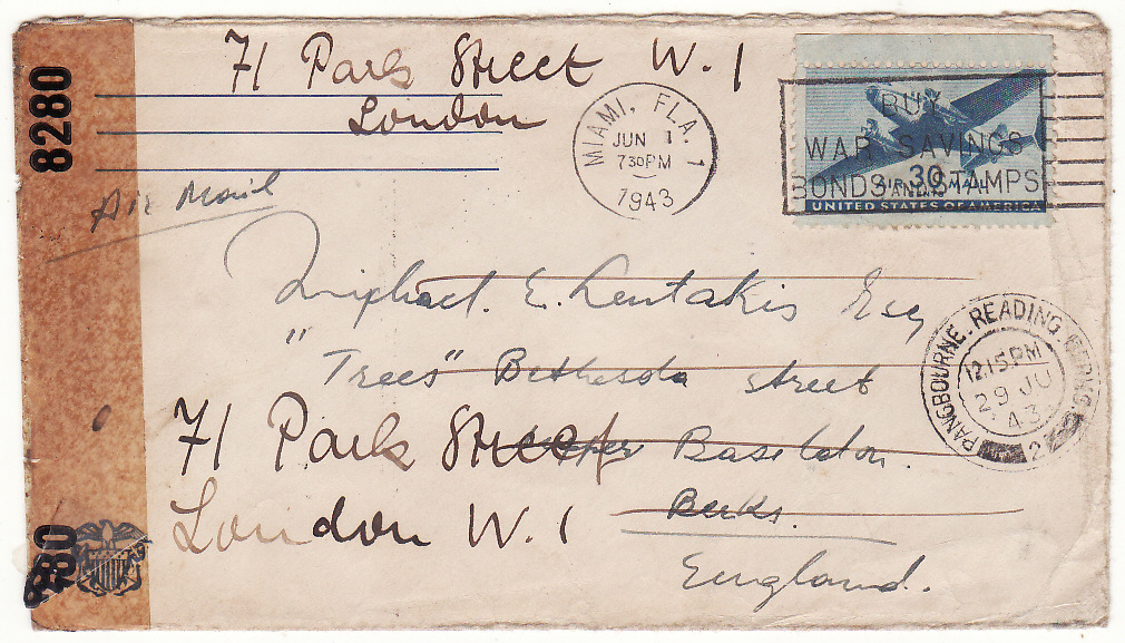 [20273]  USA - GB …WW2 CENSORED to GREEK MERCHANT SHIPPING Co. ...   1943 (Jun)