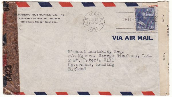 USA  - GB …WW2 CENSORED to GREEK MERCHANT SHIPPING Co. ...