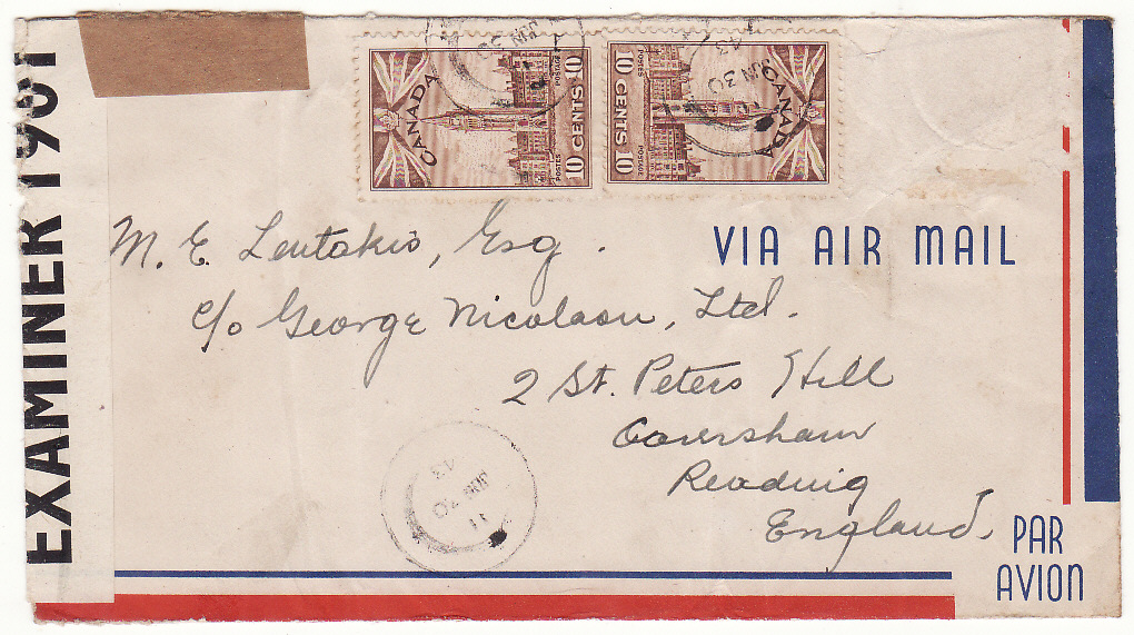 [20274]  CANADA - GB …WW2 CENSORED to GREEK MERCHANT SHIPPING Co. ...   1943 Pair airmail envelopes both creased to Michael Lentakis, Esq., c/o George Nicolaou Ltd., Caversham, Reading bearing Parliament building 3 x 10c tied security cds (12 May)