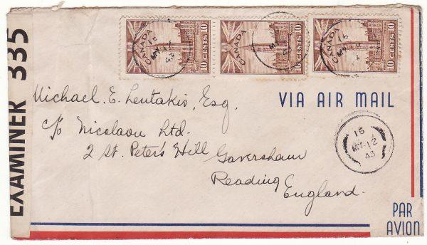 CANADA  - GB …WW2 CENSORED to GREEK MERCHANT SHIPPING Co. ...