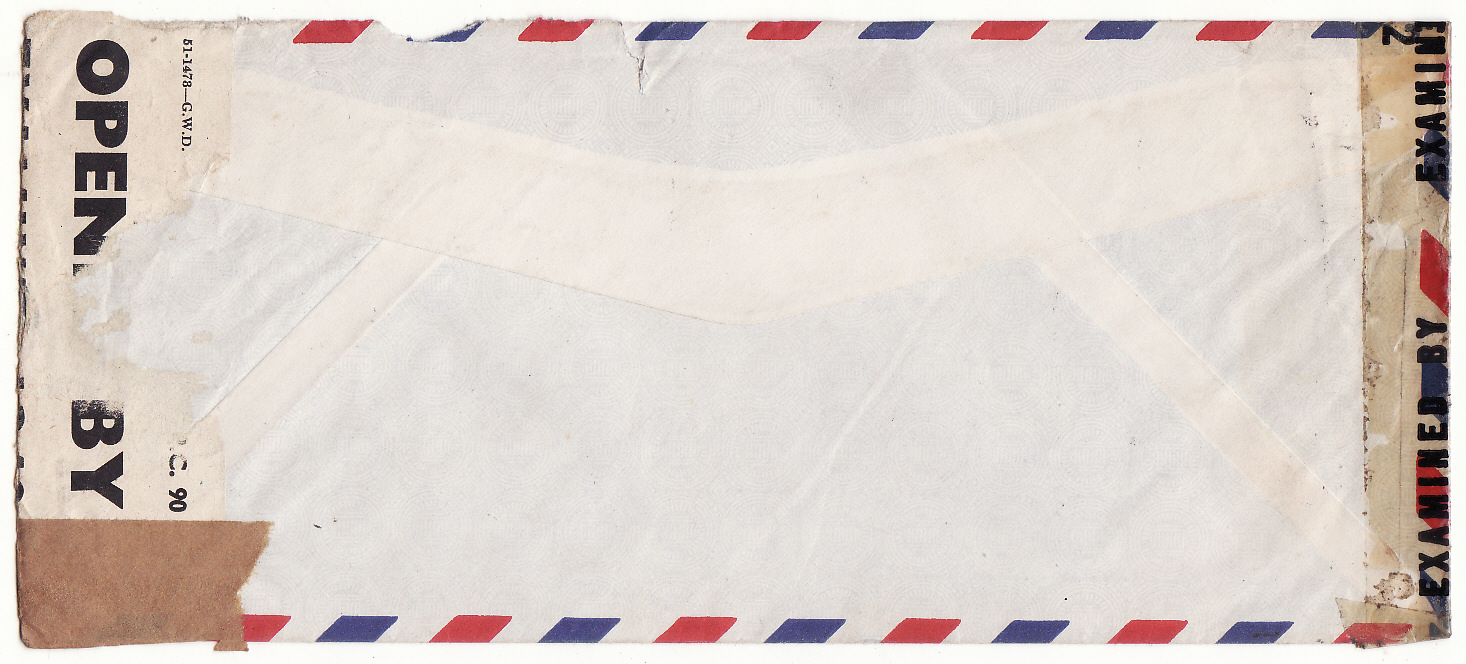 [20275]  USA - GB …WW2 CENSORED c/o ROYAL GREEK EMBASSY for GREEK MERCHANT SHIPPING Co. ...   1942 - 43 Trio of Livanos Agency Inc., New York printed censored envelopes 2 are airmail other is printed matter all with faults of some description to Messrs. A. Lusi & P. Lykiardopoulo, Greek Shipping Committee, c/o The Royal Greek Embassy, London bearing damaged Prexie 30c tied New York N.Y /Church Street Annex (14 Oct 42)