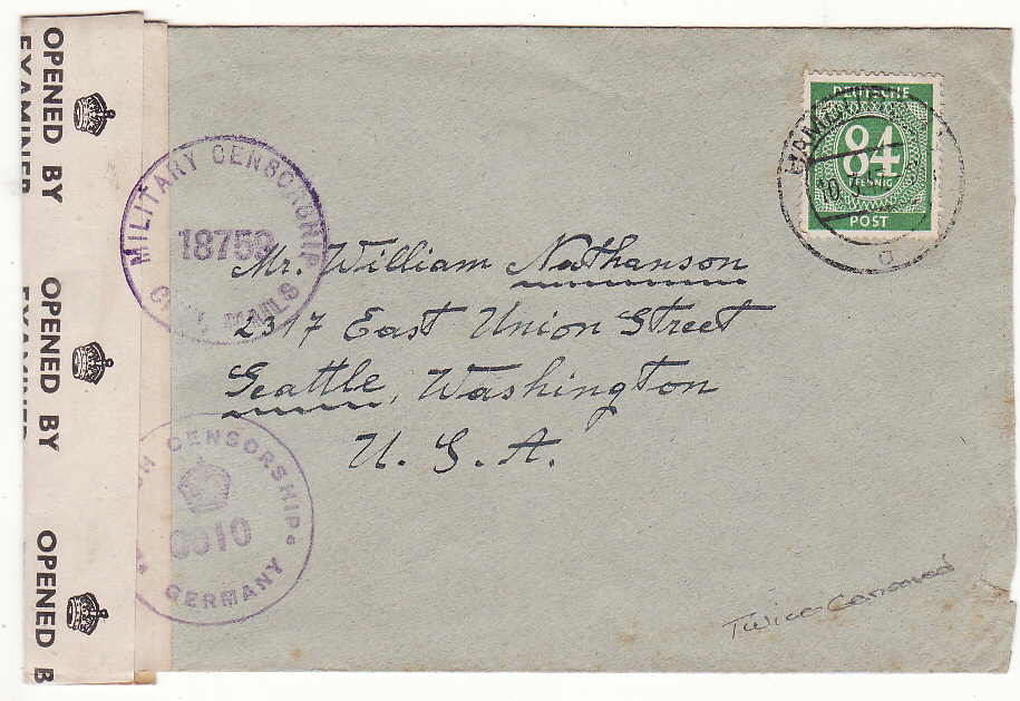 [20309]  GERMANY - USA …POST WAR ALLIED OCCUPATION DOUBLE CENSORED ....   