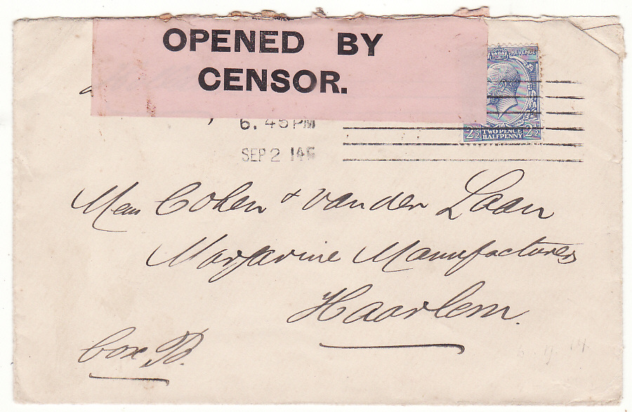 [20314]  GB - HOLLAND …WW1 BLACK on PINK CENSOR LABEL…  1914 (Sep 2)