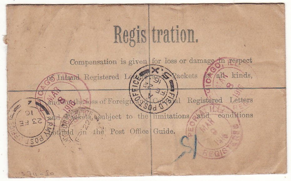 [20317]  GB - USA … WW1 CANADIAN FORCES REGISTERED from FRANCE…  1916 (Feb 22)