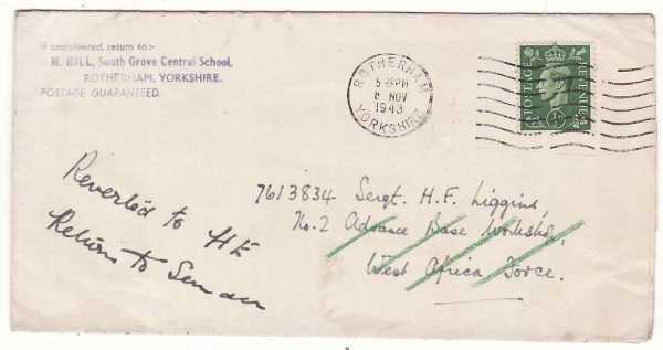 GAMBIA - GB…. WW2 WRAPPER to WEST AFRICAN FORCE & RETURNED TO SENDER….