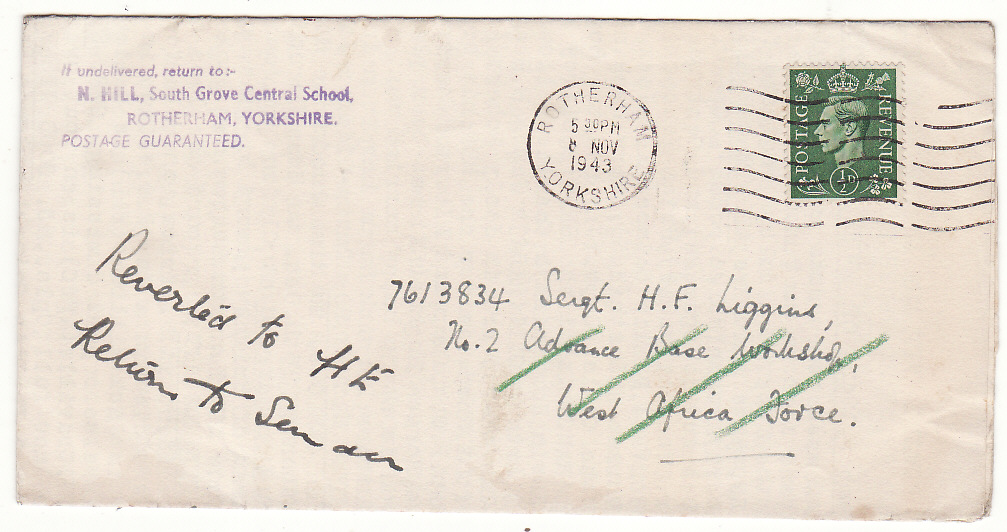 [20331]  GAMBIA - GB…. WW2 WRAPPER to WEST AFRICAN FORCE & RETURNED TO SENDER….  1943 (Nov 8)
