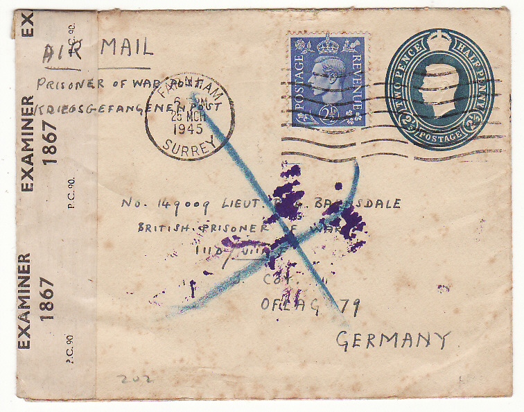 [20334]  GREAT BRITAIN..WW2 POW & RETURNED BY SWISS POST OFFICE …  1945 (Mar 25)