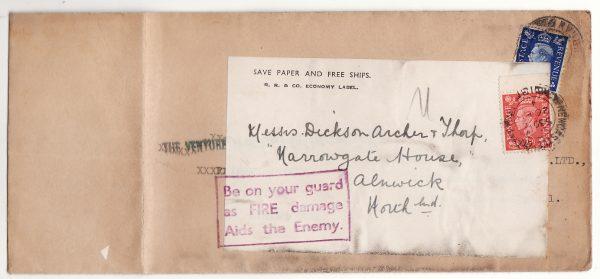 GREAT BRITAIN… WW2 RE-USED with ECONOMY label tied PATRIOTIC SLOGAN...