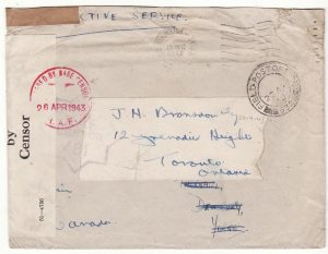 GB - CANADA…WW2 RAF FORCES in TUNISIA on RE-USED ENVELOPE…