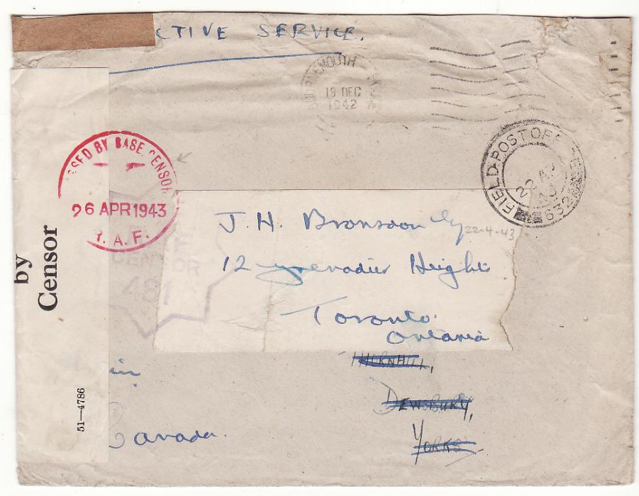 [20337]  GB - CANADA…WW2 RAF FORCES in TUNISIA on RE-USED ENVELOPE…  1942 ( Dec 19)