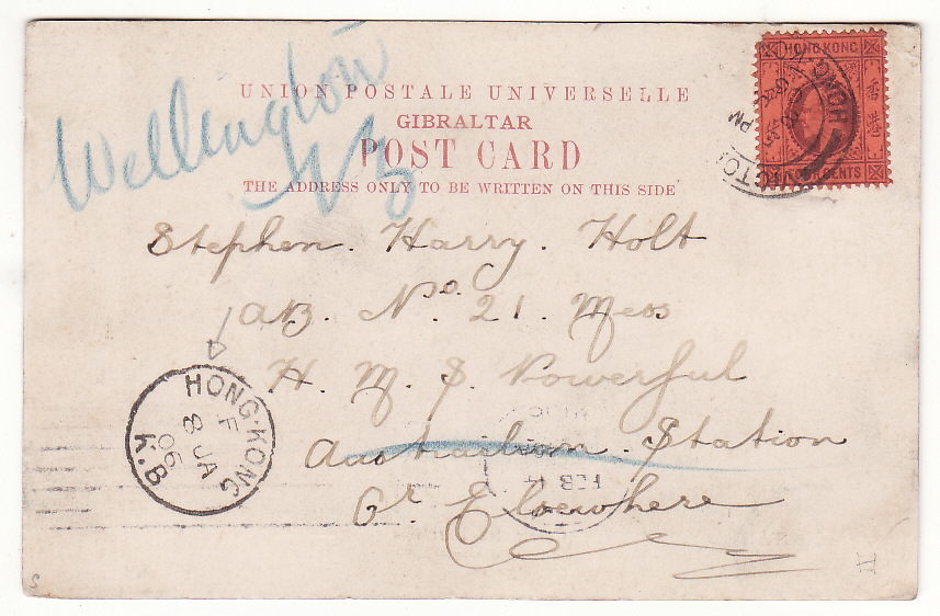 [20340]  HONG KONG - NEW ZEALAND …H.M.S. POWERFUL & REDIRECTED MAIL..  1906 (Jan 8)