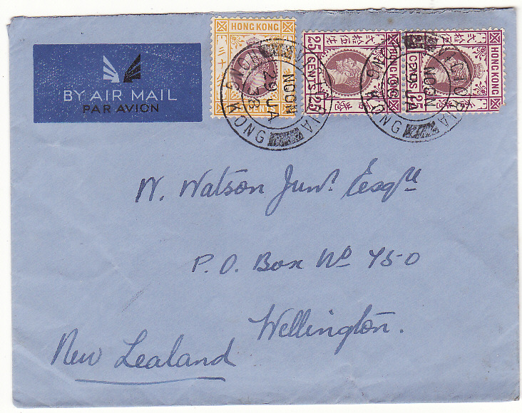 [20341]  HONG KONG - NEW ZEALAND …AIRMAIL..  1938 (Jan 29)