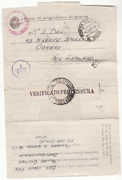 [20352]  ITALY - NEW ZEALAND.. WW2 N.Z POW…  1942 (Mar 1)
