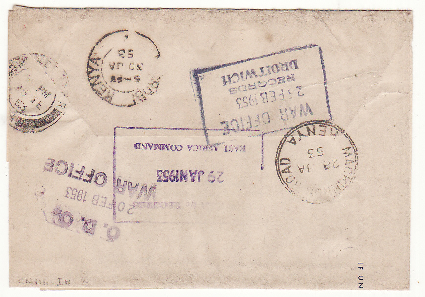 [20346]  GB - KENYA - GB…R.A.S.C. WRAPPER to EAST AFRICA COMMAND & RETURNED to UK…  1952 (Dec 13)
