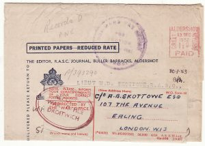 GB - KENYA - GB…R.A.S.C. WRAPPER to EAST AFRICA COMMAND & RETURNED to UK…