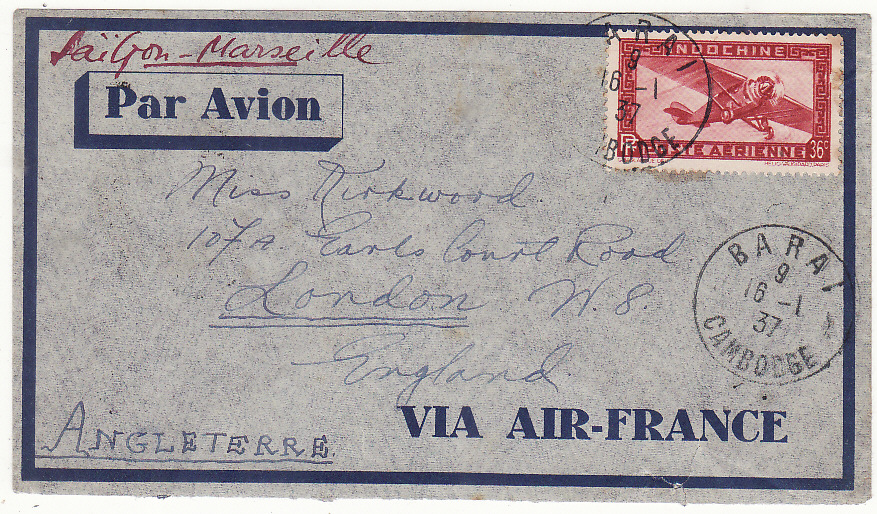 [20360]  CAMBODIA - GB...INDO-CHINE AIRMAILVIA AIR FRANCE …  1937 (Jan 18)