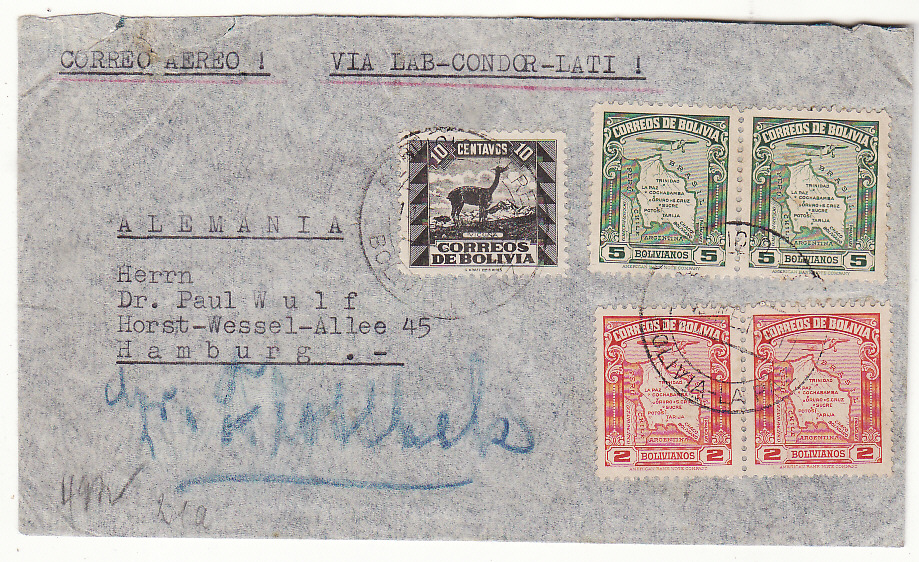 [20368]  BOLIVIA - GERMANY … WW2 AIRMAIL via LATI…  1941 (Jan 14)