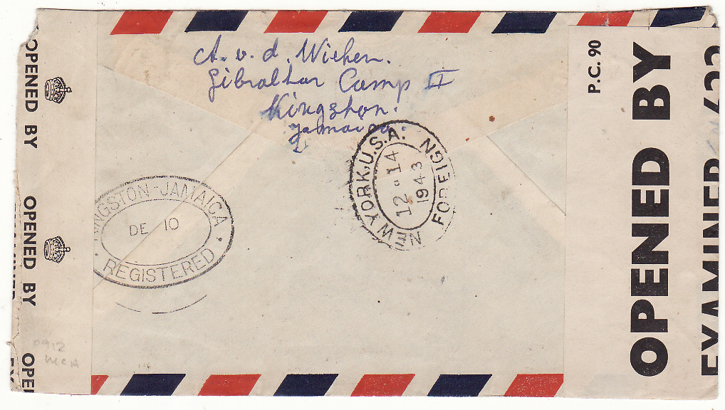 [20371]  JAMAICA - GB...WW2 REGISTERED DOUBLE CENSORED AIRMAIL to DUTCH FREE FORCES...  1943 (Dec 10)