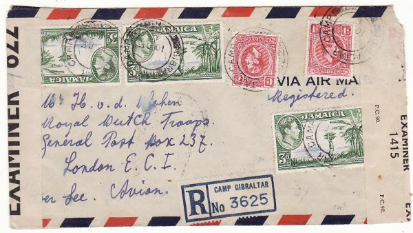 JAMAICA - GB...WW2 REGISTERED DOUBLE CENSORED AIRMAIL to DUTCH FREE FORCES...