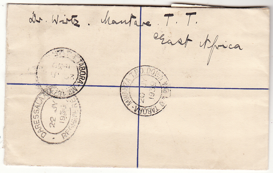 [20373]  TANGANYIKA - BELGIUM…WW2 REGISTERED AIRMAIL via TPO..  1939 (Jul 20)