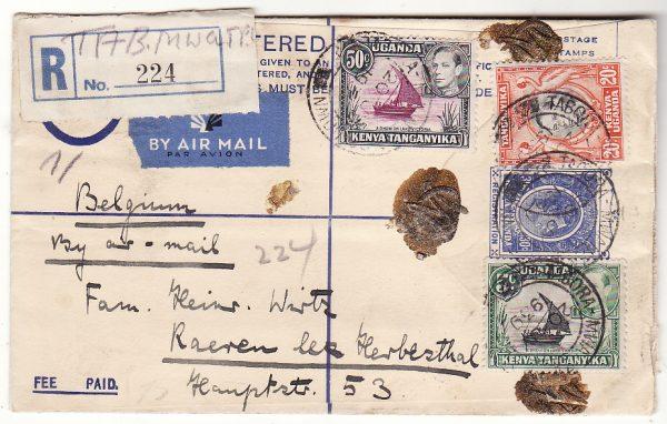 TANGANYIKA - BELGIUM…WW2 REGISTERED AIRMAIL via TPO..