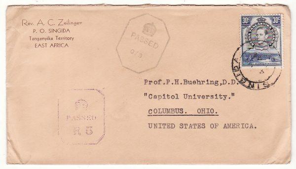 TANGANYIKA - USA…WW2 DOUBLE CENSORED TANGANYIKA & RHODESIA..