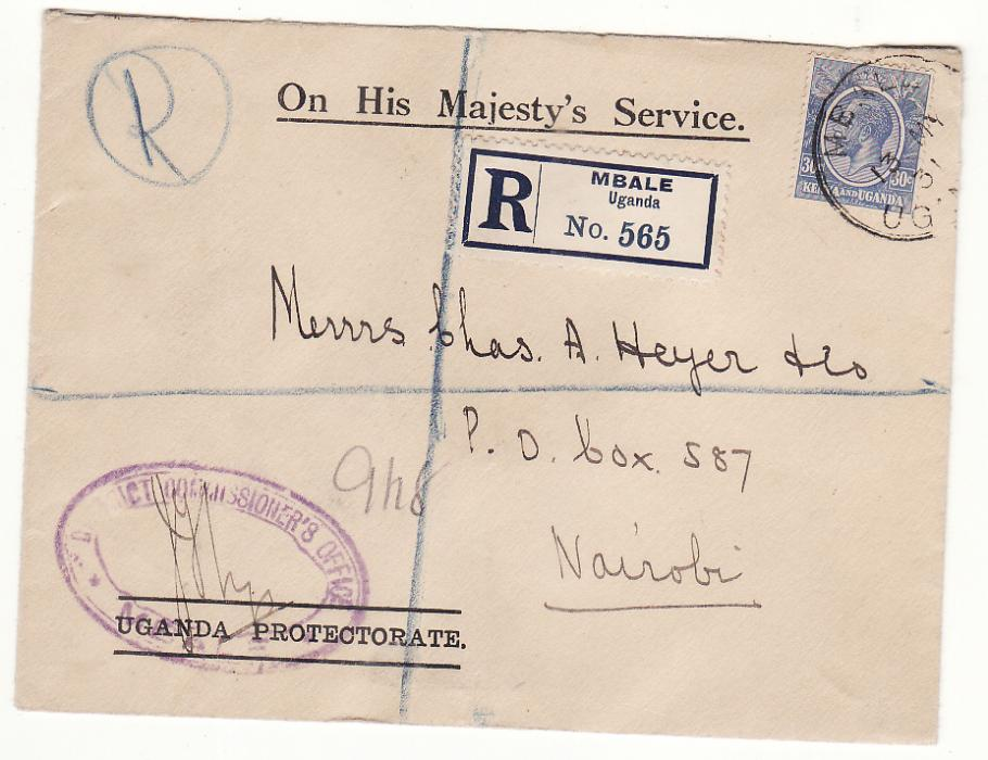 [20377]  UGANDA - KENYA…O.H.M.S. REGISTERED MAIL…  1931 (May 13)