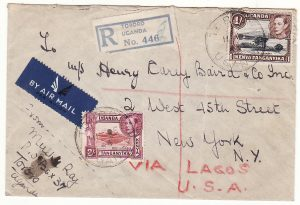 UGANDA - USA…WW2 REGISTERED AIRMAIL via LAGOS…