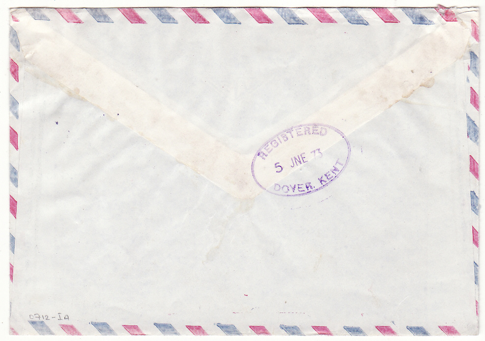 [20381]  NORTH KOREA - GB … REGISTERED COMMERCIAL MAIL to LONDON..  1973 (Mar 13)